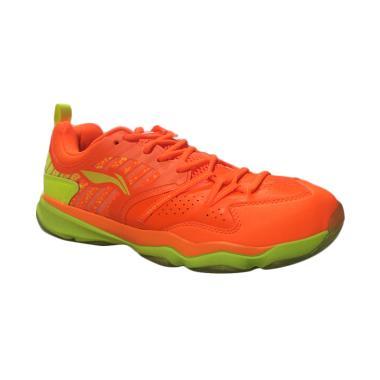 Li Ning Men Shoes Sepatu Badminton Pria - Orange [AYTM113-3]