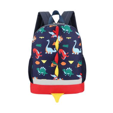 Lansdeal Dinosaur Pattern Animals Backpack Toddler Tas Sekolah Anak - Dark Blue