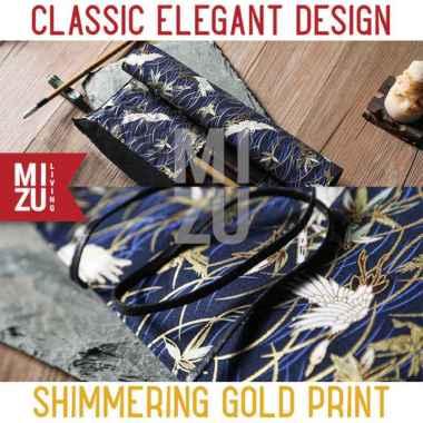harga MIZU FURISODE MakeUp Paint Brush Roll Case Tempat Kuas Gulung Lukis - GOLD CRANE Multicolor Blibli.com