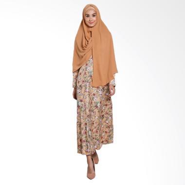 Erin Collection Motif Bunga Kerudung Lengan Panjang Set Gamis - Coklat