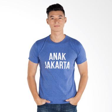 Trending Graphic Print Anak Jakarta T-Shirt Pria - Biru