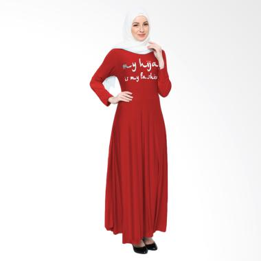 Jfashion Maxi Tangan Panjang Print  ...  Long Dress Gamis - Merah