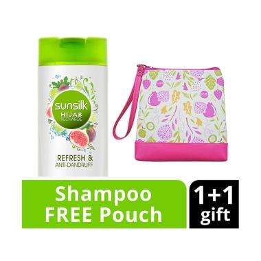 SUNSILK Hijab Refresh & Anti-Dandruff Shampoo [340 mL] + Free Pouch