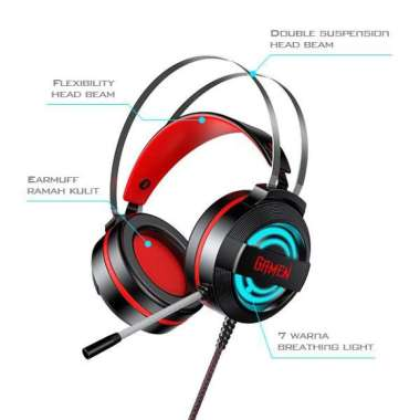 harga RECOMMENDED HEADPHONE GAMING HP GAMEN GH1100 WIRED HEADSET GAMING BLACK WITH 7 COL Blibli.com