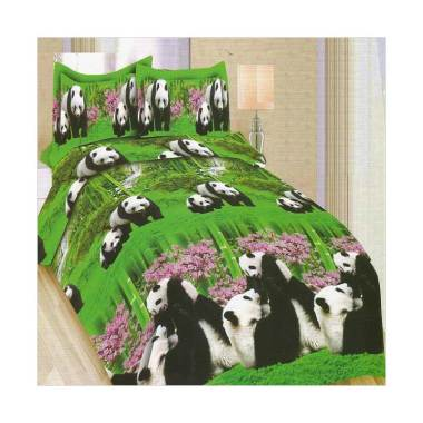 Bonita Panda Set Sprei - Green [180 x 200 cm]