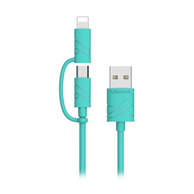 Usams 2 in 1 Kabel Data for iPhone dan Android