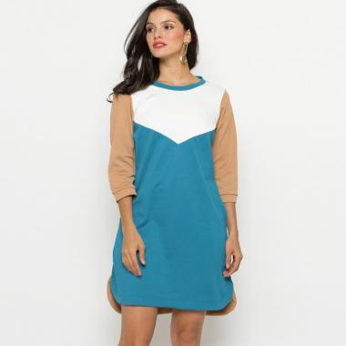 Minimal Color Block Sweatshirt Dress Pakaian Wanita