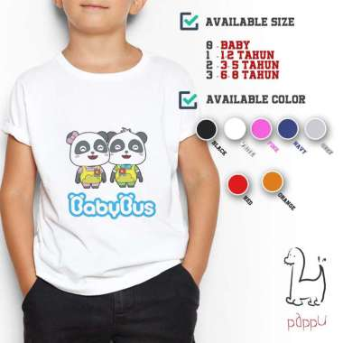 harga C/36 Kaos Premium Distro Quality Baby Bus Panda Babybus T-shirt 0-8 Tahun 2 Abu-Abu Blibli.com