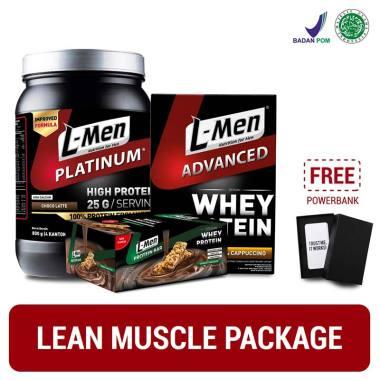 harga Lean Muscle Package – L-Men Platinum Choco Latte 800g + Advanced Cappuccino 250g + Crunchy Chocolate Bar 12sch + FREE Powerbank Blibli.com