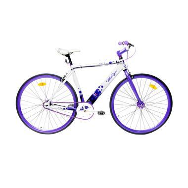 WimCycle 700 C Alloy Sepeda Fixie - Putih Ungu