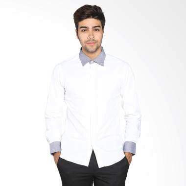 VM Casual Slimfit Kemeja Panjang Pria - Putih