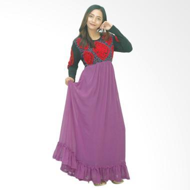 Ezpata Zuri Bordir Rajut Long Dress - Ungu