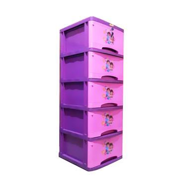 Tulip Bergambar Lemari Plastik - Pink [5 Susun]