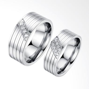 CDHJewelry CC089 Titanium Anti Karat Cincin Couple [Female 7 & Male 7]