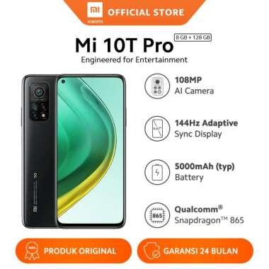 "harga Xiaomi Mi 10T Pro (8GB + 128GB) Snapdragon 865 108MP AI Triple Camera Layar 144Hz 6.67"" FHD+ 5000mAh + 10000mAh Mi 18W Fast Charge Powerbank 3 Cosmic Black Blibli.com"