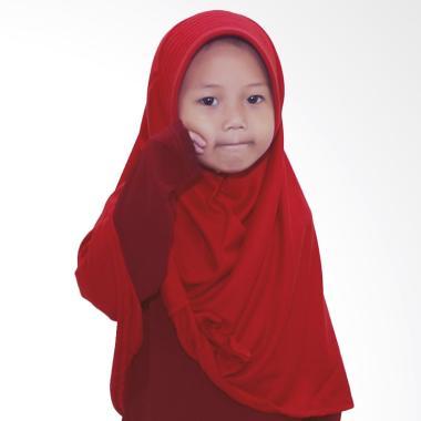 BajuYuli Kerudung Polos Pita Cantik Jilbab Anak - Merah Cabe