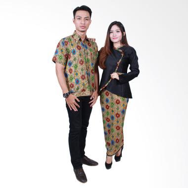 Batik Putri Ayu Solo SRD505 Batik Sarimbit Baju Batik Couple - Hitam