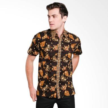 Odza Wayang Lengan Pendek Kemeja Batik Pria - Coklat L Brown