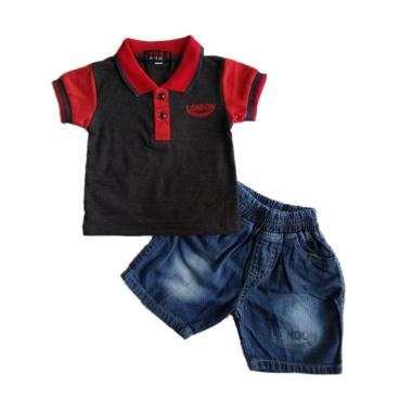 GLOWFish SWB221 Jeans Kaos Polo Set ... - Hitam [Usia 0-12 Bulan]
