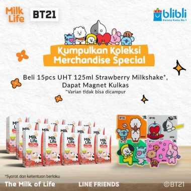 harga SMG/JOG/SOLO - MilkLife Stroberi Milkshake – UHT Kids Tetra Slim Leaf [125 mL/15 pcs] + FREE Magnet Kulkas BT21 Blibli.com