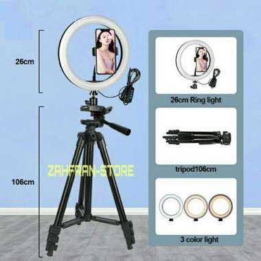 harga NO ONGKIR paket tripod lampu ring light led 26 cm + tripod 3120 - 3110 - Hitam Blibli.com