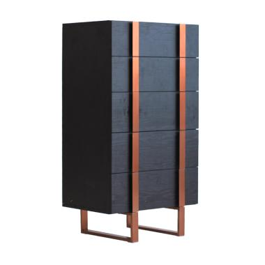 Thema Home Dali Black Oak Rose Gold Centro Chest of Drawers [5 Drawers]