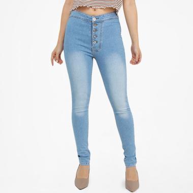 Brielle Jeans 5 Button 1907 High Waist Jeans Wanita - Biru