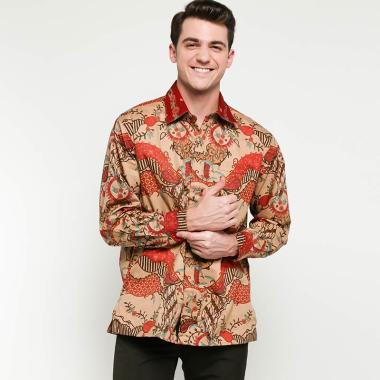 Danar Hadi Motif Bunga Garis Kemeja Panjang Batik Pria Brown Mix Red 78 1218 Bngs1