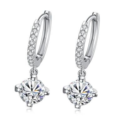 Tiaria AKE007 Romantic Geometry Ear Hook & Earrings - White Gold