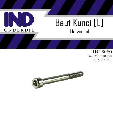 harga IND Onderdil Baut Bolt L [L6 M8x80/ Kunci-K 6 P/ Pitch 1.25] Blibli.com
