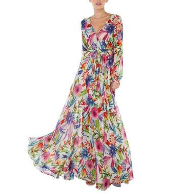 Bluelans Bohemia Beach Women Leaves Print V Neck Long Lantern Sleeve Maxi Dress