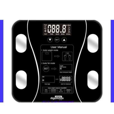 harga Timbangan Badan Digital + BMI Body Fat Monitor Analisis GT Black Blibli.com