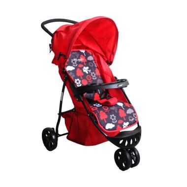 harga Hugo Starlight Baby stroller - Red Flower [3 Roda]