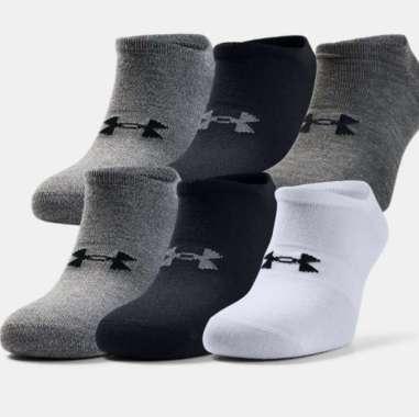 Under Armour Men's  Essentials No Show Socks - 6-Pack - Royal - Halo Gray - Black M Halo Gray