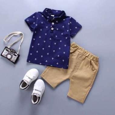 harga Setelan Kemeja bayi dan anak cowo/laki-laki usia 0 - 4 tahun Motif Jangkar Mini XS Navy Blibli.com