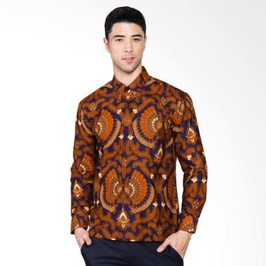 Adiwangsa Modern Slim Fit Model Baju Kemeja Batik Pria Coklat 040