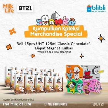 harga Bandung - MilkLife Classic Cokelat – UHT Kids Tetra Slim Leaf [125 mL/15 pcs] + Free Magnet Kulkas BT21 Blibli.com