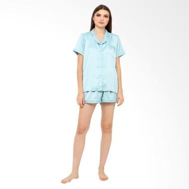 Madeleine Silk Short Setelan Baju Tidur - Aqua Blue
