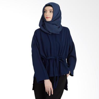 Hanalila Daily Hijab Tops Blouse Muslim Wanita - Navy