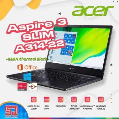 harga Acer Aspire 3 Slim A314-22-R6MN Charcoal Black [AMD Athlon 3050U, 4GB, 256GB SSD , 14″HD, Win10+OHS] Blibli.com