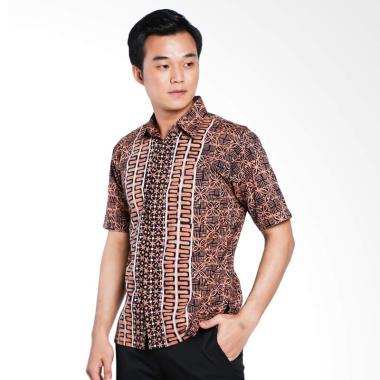 Batik Huza Hem Katun Cap M Batik Kemeja Pria - Cream Dark Brown
