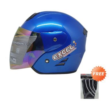 SHEL Excel Solid Helm Half Face + Free Hand Glove Exclusive