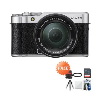 harga Fujifilm X-A20 Kit XC 15-45mm Kamera Mirrorless + Free Screen Guard + SDHC Kartu Memori 16GB + Tas Universal + UV Filter + Gorillapod + Cleaning Kit Blibli.com