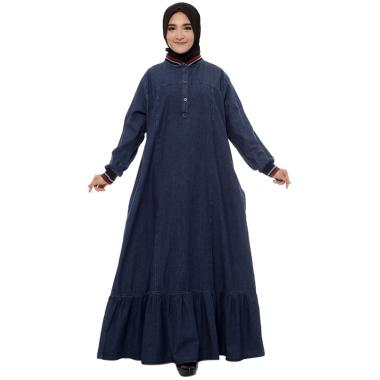 Zahra Signature Denim W/ Red Rib Long Dress Muslim Wanita - Dark Blue
