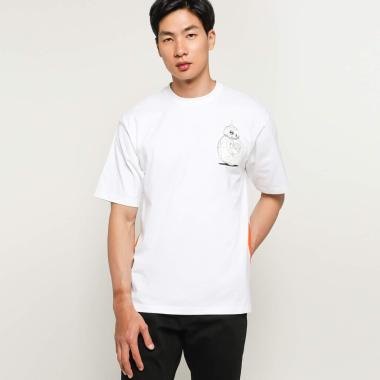 AMOTSYAMSURIMUDA Star Wars BB-8 Printed T-Shirt Pria - White