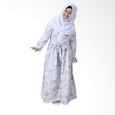 Aisyah Kirana Allura Hijab Gamis Anak - Abu abu [Size S/5-6 Tahun]