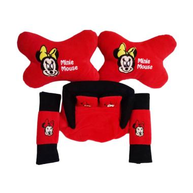 Custom 3in1 Mickey Mouse Set Bantal Mobil - Red
