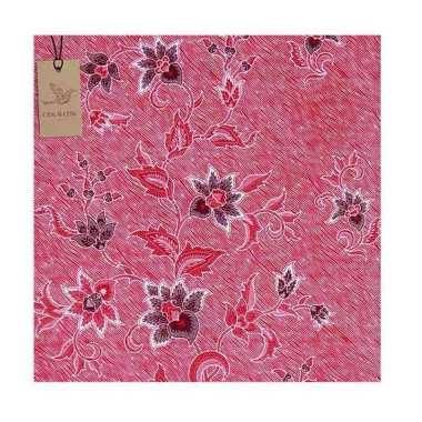 Cek Batik Motif Kabut Bunga Kain - Merah Muda Soft