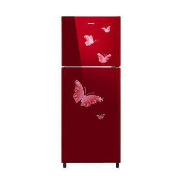 Sanken SK-G220MR Kulkas 2 Pintu [215L/Tempered Glass]
