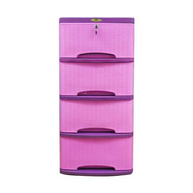 Lily Motif Rotan 4 Susun Lemari Plastik [Pink]